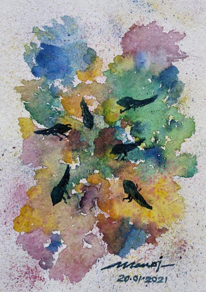 Dt: 20.01.2021 Sub: TADPOLE Watercolor painting on handmade paper inbound8781594007067340161
