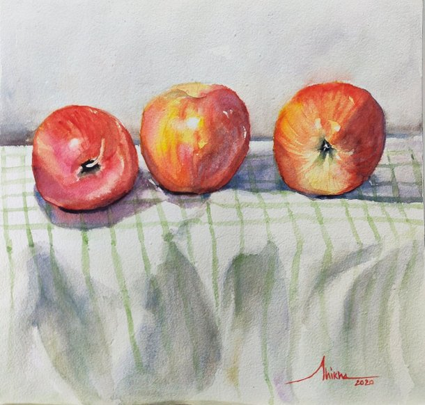 three_amigos apples watercolour by Shikha Garg