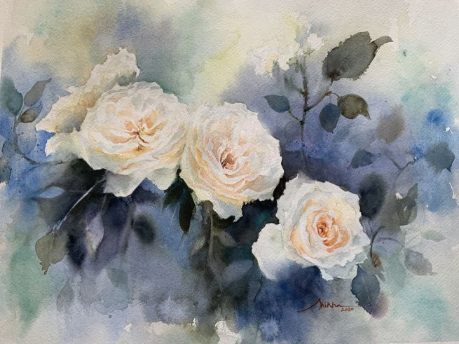 white roses watercolour by Shikha Garg