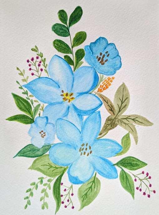 Blue Flowers Watercolor by Saumya Agrawal