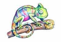 Chameleon Cute Colorful Watercolor Illustration
