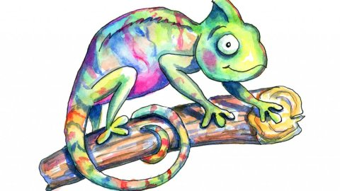 Chameleon Cute Colorful Watercolor Illustration