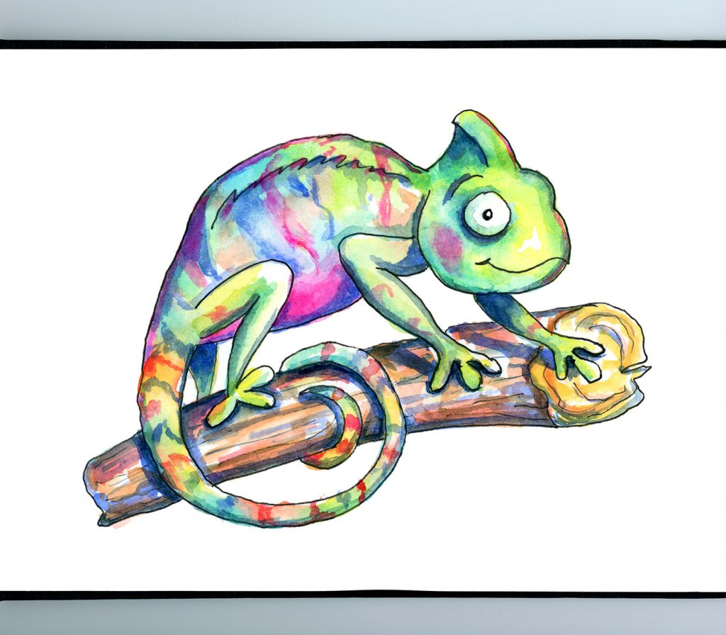 Chameleon Cute Colorful Watercolor Illustration_IG