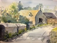 Cotswold Cottage watercolour painting by Kusum Shabong