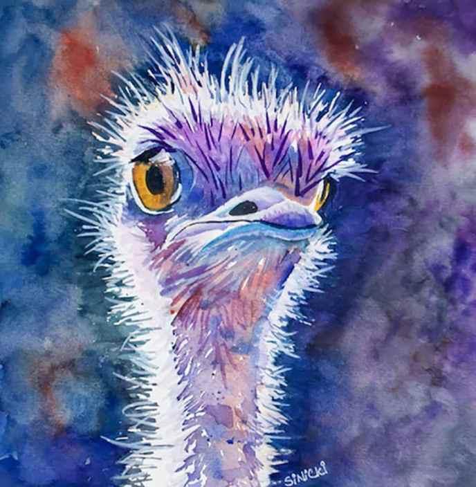 Dizzy Ostrich Watercolor by Lisa Goell Sinicki