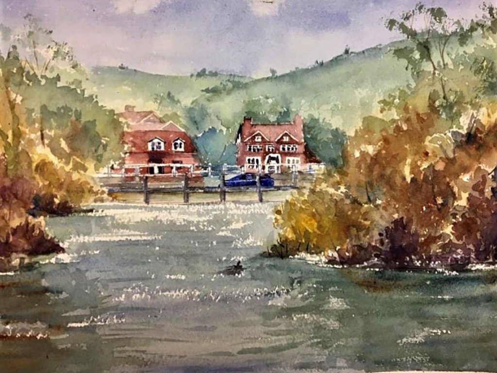 Goring on Thames watercolour painting by Kusum Shabong