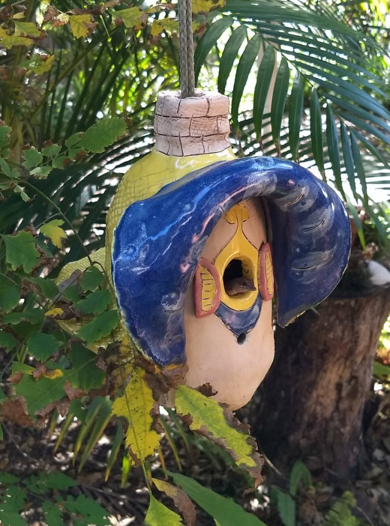 Just an update to my post this morning. The new resident reptile poked his head out of the birdhouse