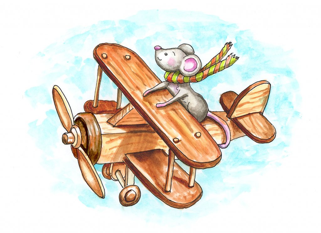 Mouse Flying Wooden Toy Airplane Watercolor Illustration2