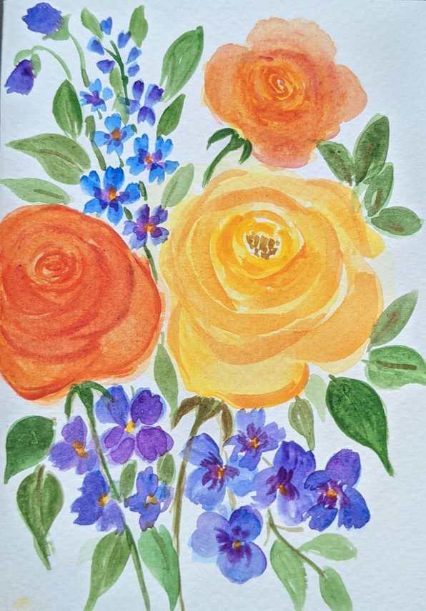 Orange Yellow Purple Flowers Watercolor by Saumya Agrawal