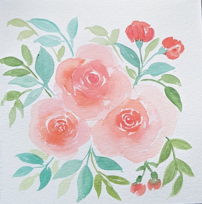 Peach Colored Flowers watercolor by Saumya Agrawal