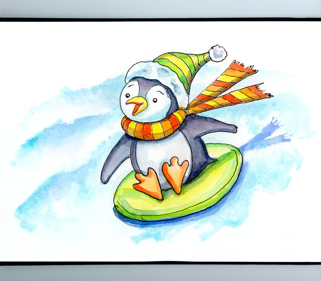 Penguin Scarf Hat Winter Sledding Down Hill Watercolor Illustration Sketchbook Detail