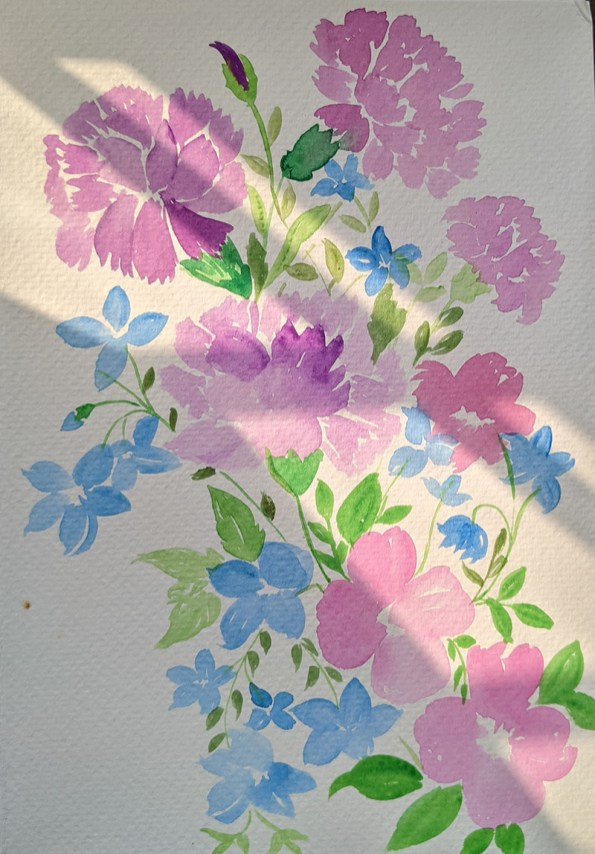 Purple and blue flowers watercolor painting by Saumya Agrawal