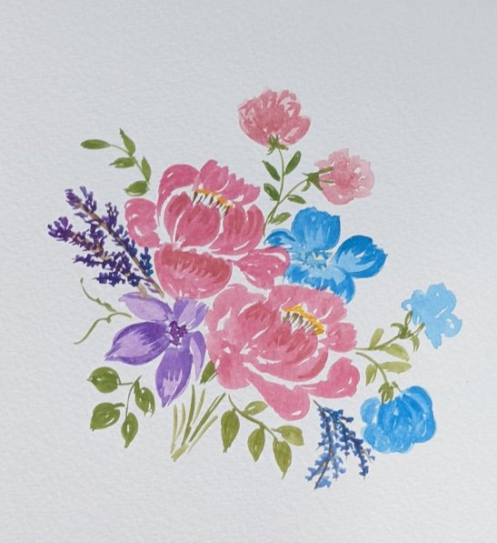 Red Purple and Blue Flowers Watercolor by Saumya Agrawal