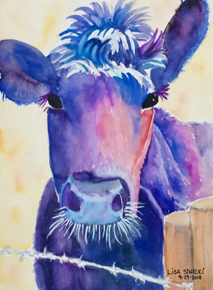 Sexy Cow Watercolor by Lisa Sinicki