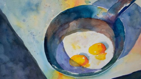 Sunny side up Fried Eggs Pan Watercolor Painting by LIsa Goell Sinicki
