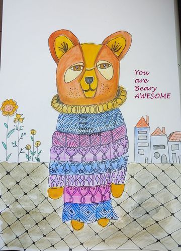 a bear with an oversized sweater watercolorpaint with patterns and a early valentines message from t
