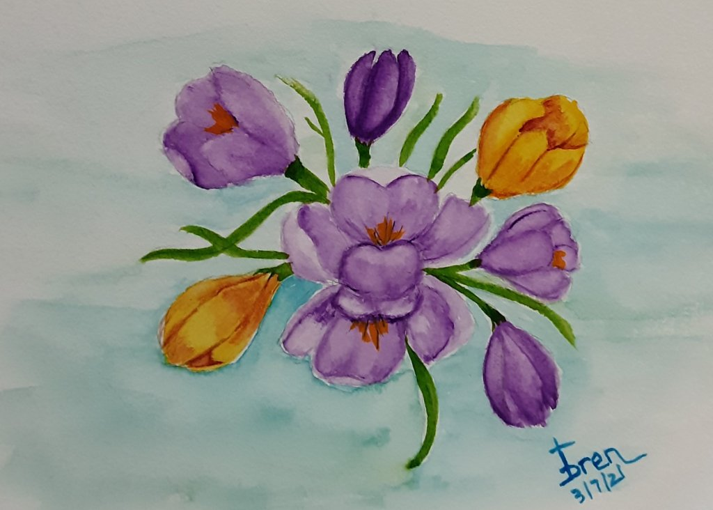 Learning so much not just watercolor, but about various flowers, etc. Here's my CROCUS 2021030
