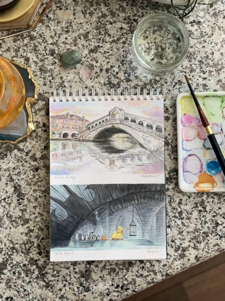 "Doodlewash x Design: Day 1 & 2 -""Reflections"" Rialto Bridge, Venice, Italy -""Penguin"" Ar"
