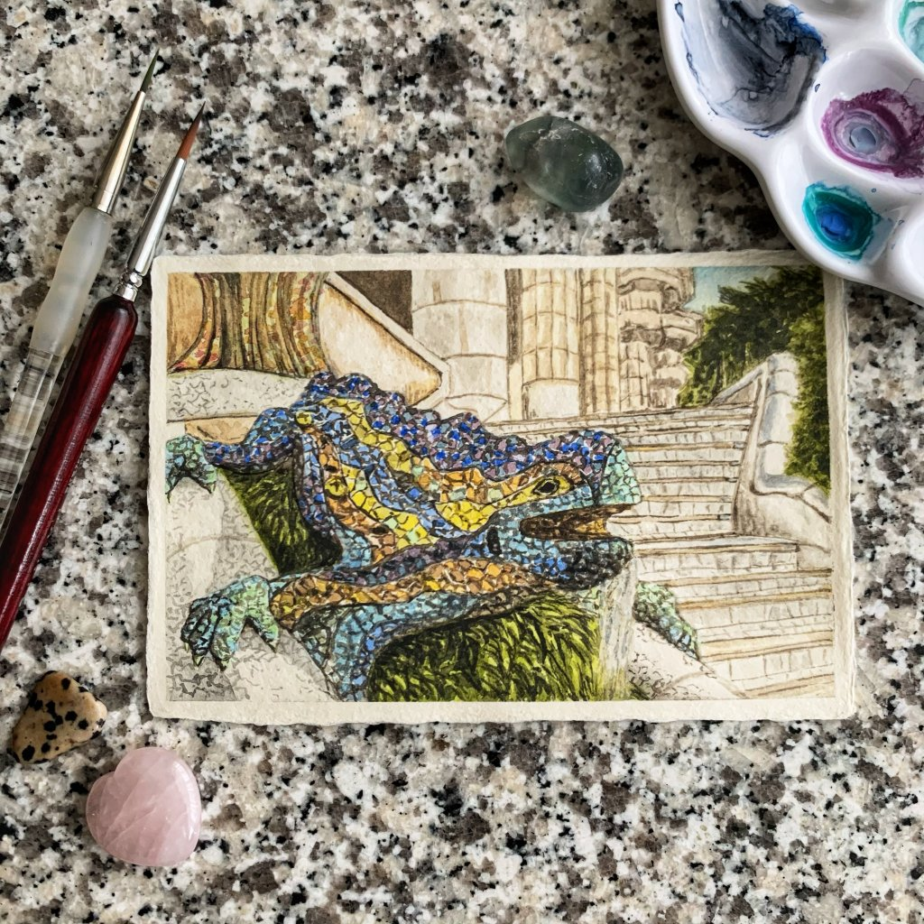 """Doodlewash x Design: Day 26 -""""Lizard"""", Park Guell, Barcelona, Spain One of the things I remember"""