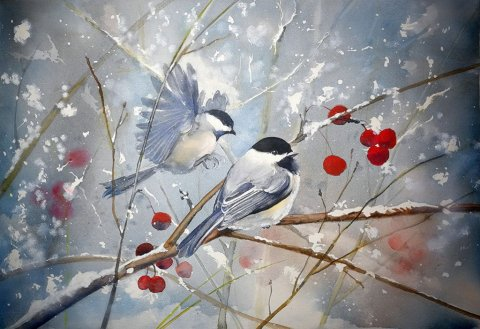 Birds And Berries Watercolour by Eva Smith