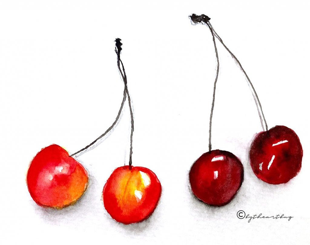 Cherries Watercolor Painting by Megha Cassandra