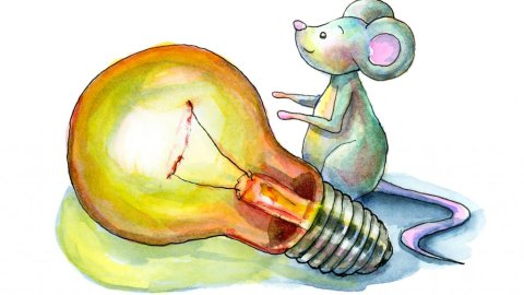 Light Bulb And Mouse Watercolor Illustration