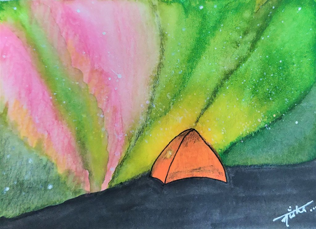 auroraborealis painting by Nisha Cupta