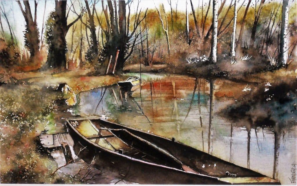 Barques dans l'attier à Ribérac en Dordogne (24), Taille 50 x40 cm, sur papier 300 g/m² . B