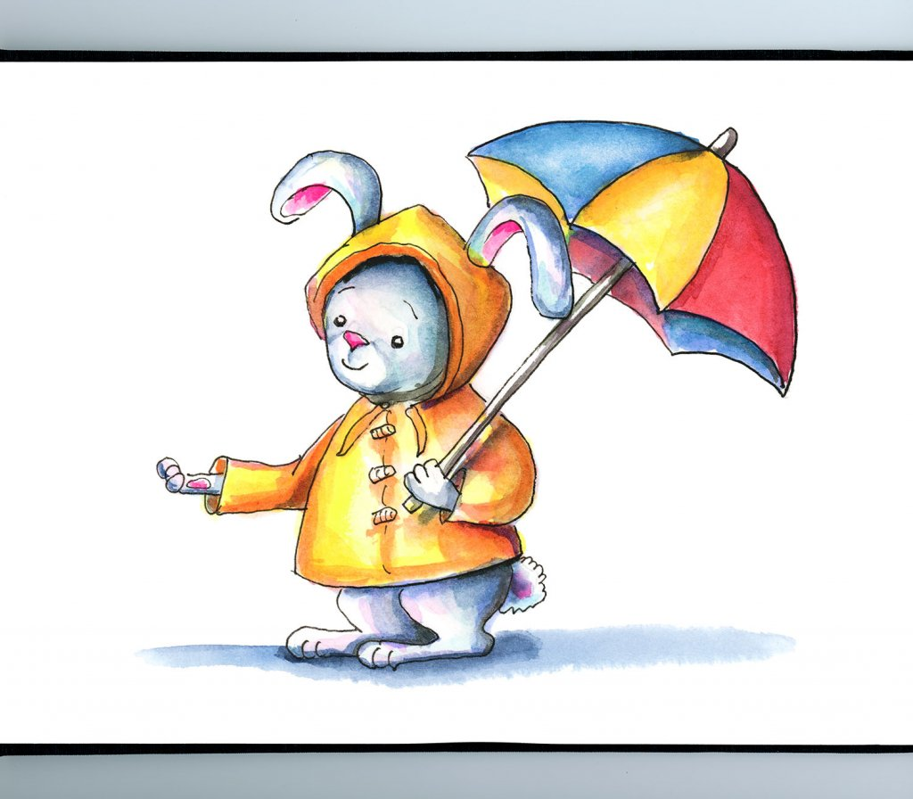Bunny Yellow Raincoat Umbrella Watercolor Illustration Sketchbook Detail