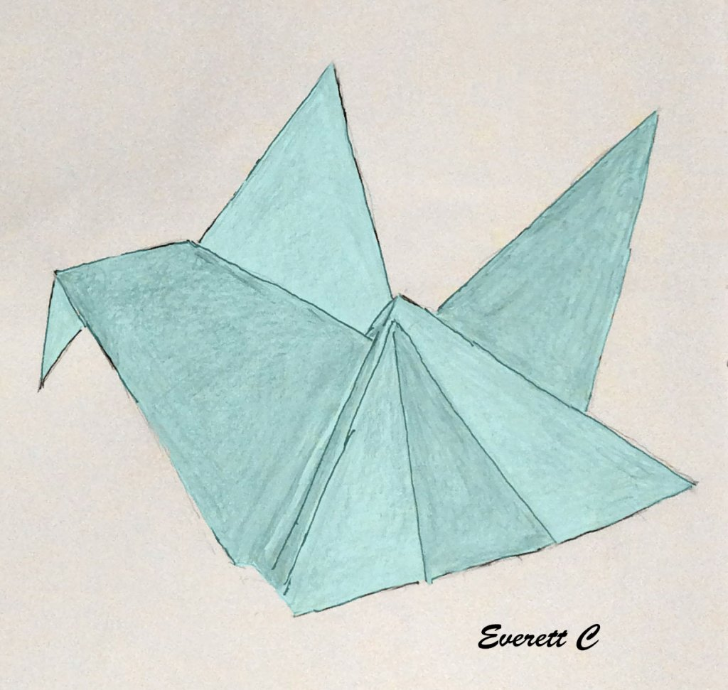 "Daily Drawing No. 778. ""Origami Bird."" #ArtDrawing #EverettsWatercolors #DoodleWashApril"