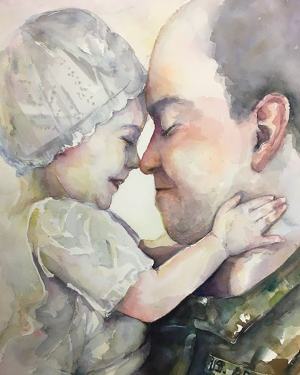 Father and Daughter Watercolor Portrait by Lauren Arno