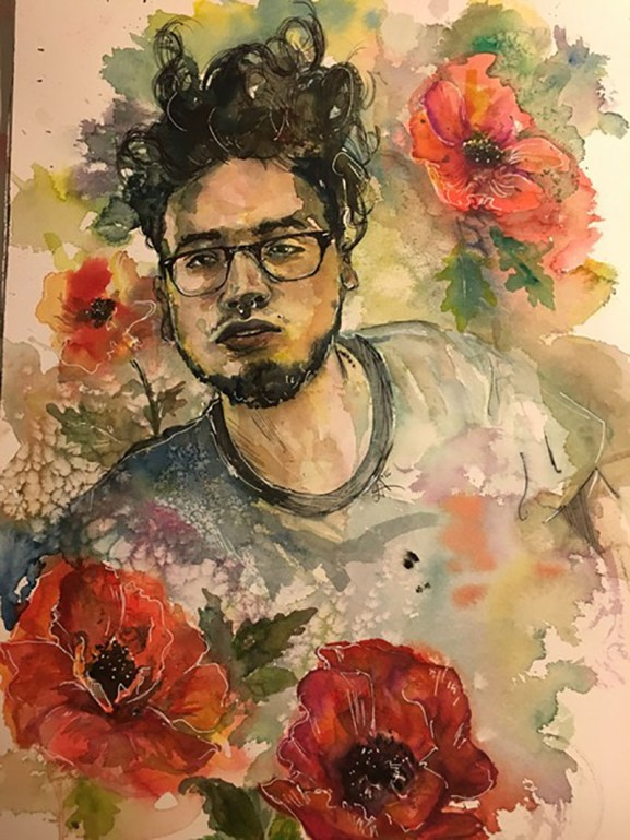 Flowers and Man Portrait Painting