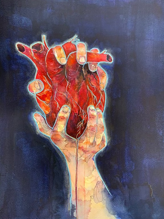 Hands Holding Human Heart Painting by Lauren Arno