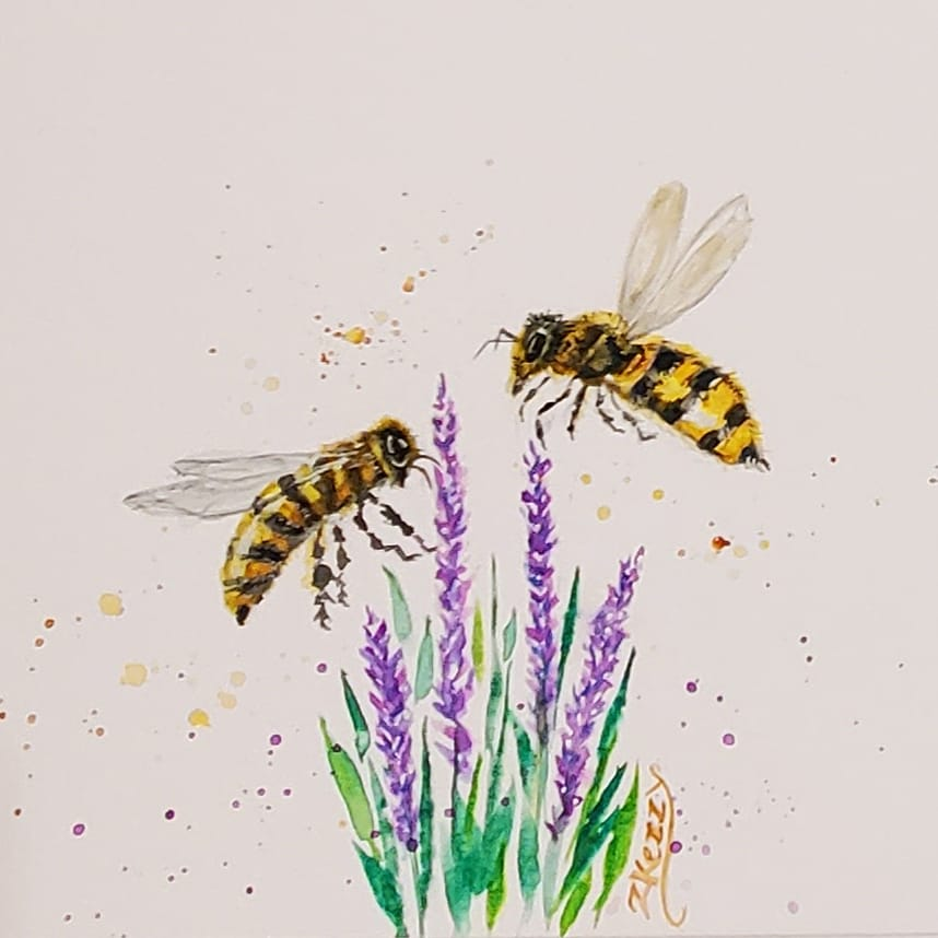 My first attempt for #doodlewashapril2021 3rd prompt Bees .Excited to do more fun challenge prompts