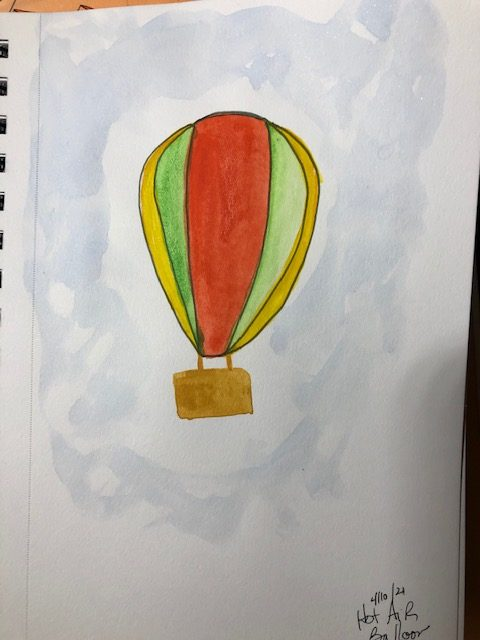 Still painting daily 🙂 beach, woodpecker, glitter tiger, simple balloon, telephone and radio #doo