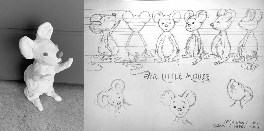 Mouse Character Turnaround Illustration Clay Model