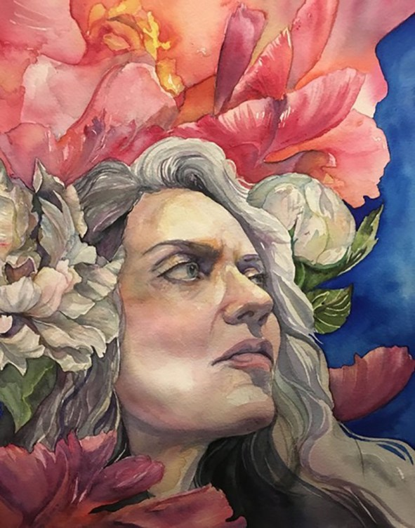 Watercolor Portrait Woman and Flowers by Lauren Arno