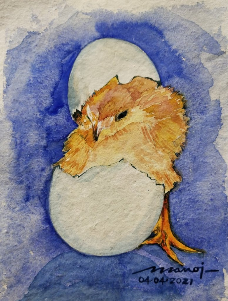 Dt: 04.04.2021 Sub: EGGS Watercolor painting on handmade paper inbound296266508719217521