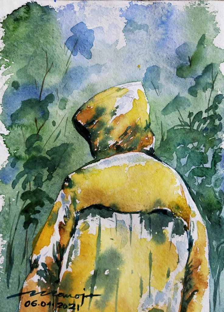 Dt: 06.04.2021 Sub: RAINCOAT Watercolor painting on handmade paper inbound4897451773376804951