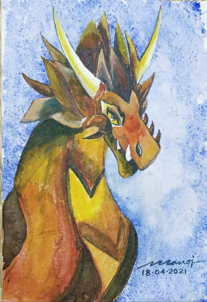Dt: 18.04.2021 Sub: DRAGON Watercolor painting on handmade paper inbound5479657359953660536