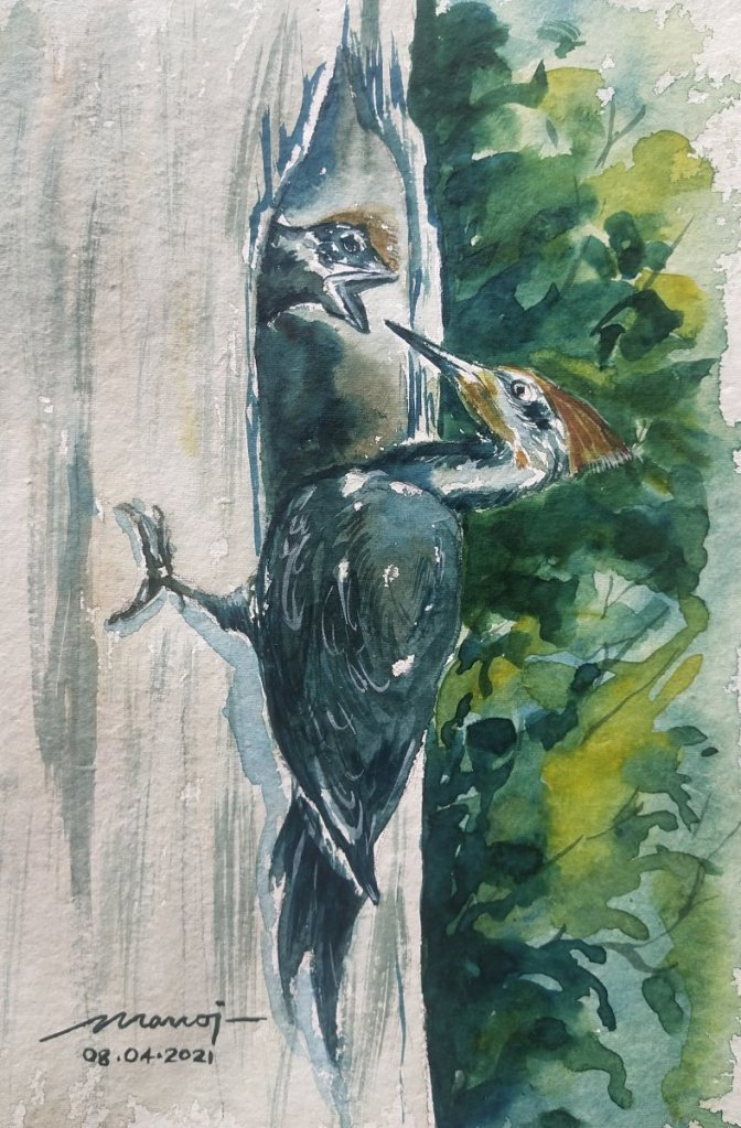 Dt: 08.04.2021 Sub: WOODPECKER Watercolor painting on handmade paper inbound7368351238950682594