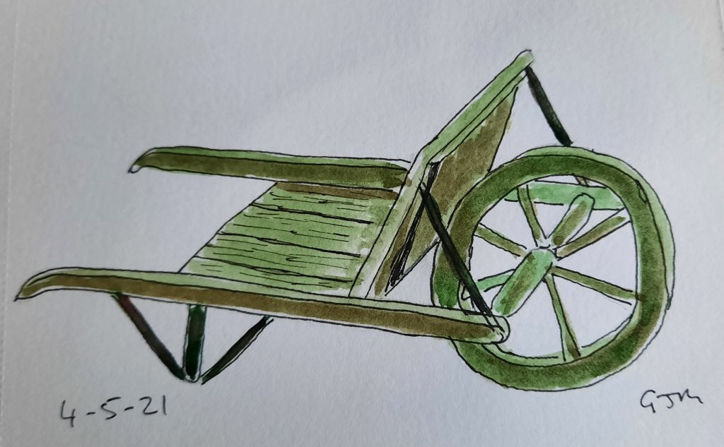 An antique wheelbarrow. #doodlewashmay2021 Day 6 Wheels. #worldwatercolorgroup 20210504_194759