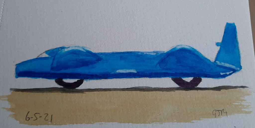 This is the land speed record car, Bluebird, driven to 403 MPH by Donald Campbell in 1964. #doodlewa