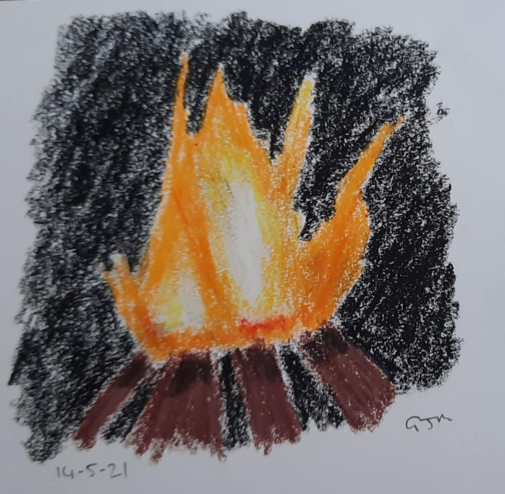 #doodlewashmay2021 Day 14 Firelight. 20210514_193613
