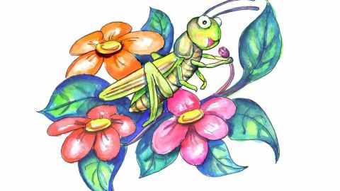 Cricket Singing Watercolor Illustration