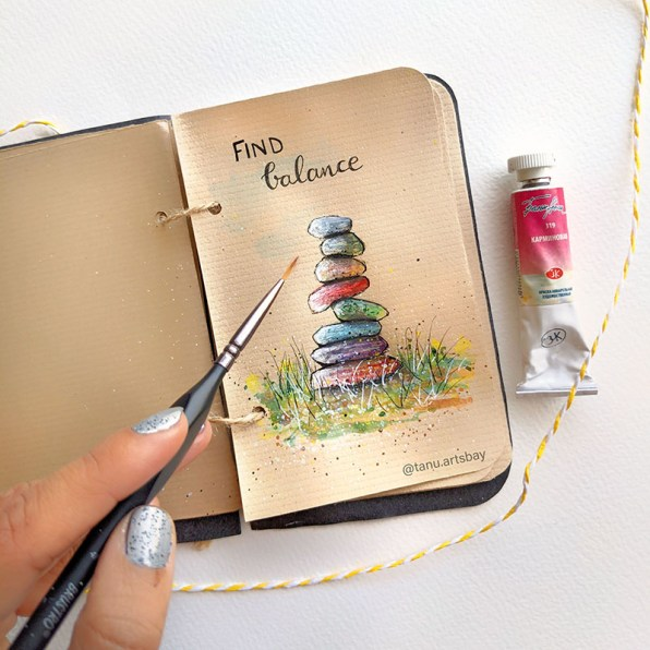 Find Balance Stones Watercolor mini painting
