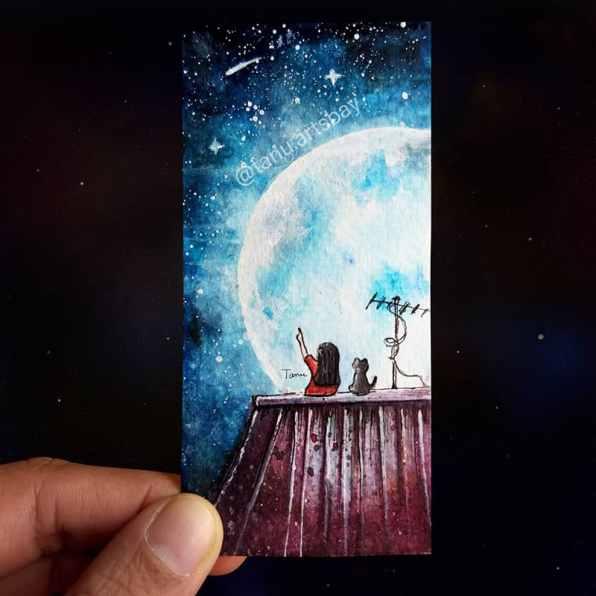 Girl Cat Moon Night Watercolor Painting by Tanu Gupta