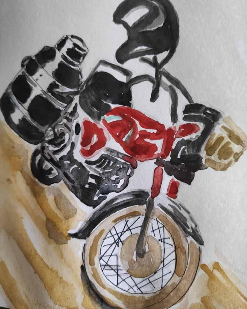 #day6 #wheel #doodlewashmay2021 #worldwatercolorgroup A milkman's motorbike in Pakistan. IMG_2