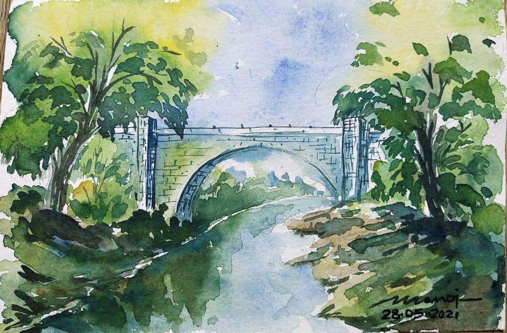 Dt: 28.05.2021 Sub: BRIDGE Watercolor painting on handmade paper IMG_20210527_214847