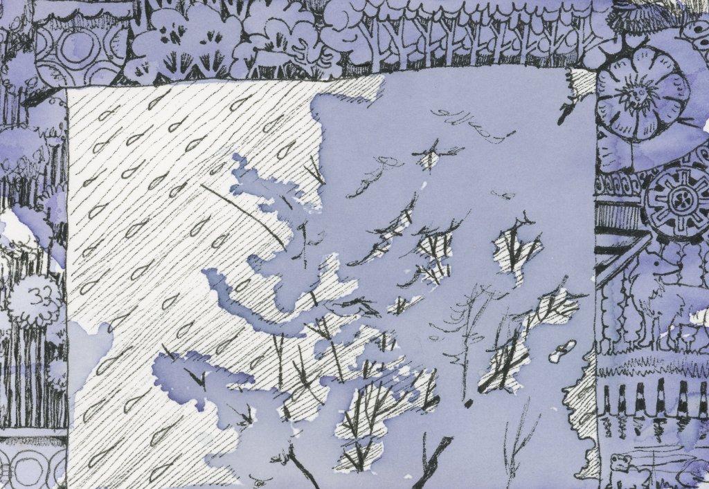 #Doodlewash prompt: Rain. I'm calling this tea tree, but iIt isn't really a tea tree – jus